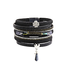Dames Armband Modieus Vintage Bohemia Style PERSGepersonaliseerd Met de hand gemaakt Luxe Sieraden Leder Strass imitatie DiamondKlavertje