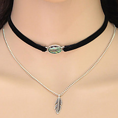 Women's Choker Necklaces Collar Necklace Tattoo Choker Shell Alloy Leaf Tattoo Style Friendship Double-layer Fashion Silver Jewelry Daily