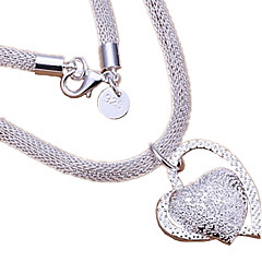 Women's Pendant Necklaces Heart Sterling Silver Love Heart Bridal Silver Jewelry For Wedding Party Anniversary Birthday Daily Casual 1pc