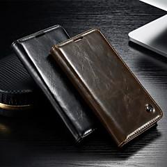 Til Samsung Galaxy Etui Lommebok Kortholder med stativ Flipp Etui Heldekkende Etui Ensfarget PU-lær til Samsung S5 S4