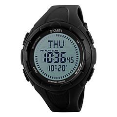 SKMEI Męskie Sportowy Zegarek na nadgarstek LED Compass Kalendarz Wodoszczelny alarm Stoper Srebrzysty Cyfrowe PU Pasmo NowoczesneCzarny