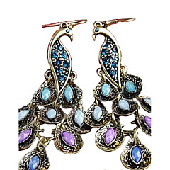 Druppel oorbellen Folk Style Luxe Sieraden Kubieke Zirkonia imitatie Diamond Legering Pauw Marine Blauw Sieraden Voor 2 stuks