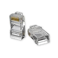 RJ45 8pin ABS Modular Plug Connector Transparent 50 PCS