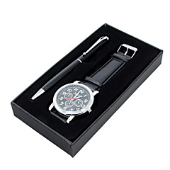 Set of 2 Men's Dress Watch Pen Quartz Leather Band Casual Black / Brown Brand Jewelry Box Gift