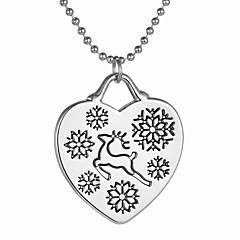 Damskie Naszyjniki z wisiorkami Heart Shape Animal Shape Jeleń Płatek śniegu Stop Miłość Serce Bohemia Style Modny Silver Biżuteria Na