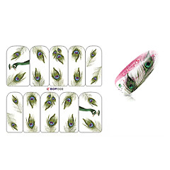 10PCS Peacock Feathers Design Nail Art Sticker BOP/300