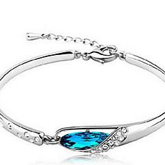 Feminino Pulseiras em Correntes e Ligações Cristal Prata de Lei Natureza Azul Jóias 1peça