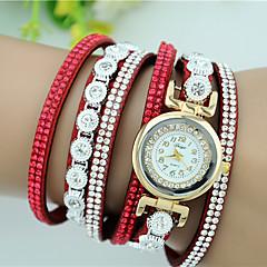 Women's Bracelet Watch Quartz Rhinestone Imitation Diamond Leather Band Charm Black White Blue Red Pink Purple Beige Rose Brand