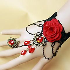 Bracelet Ring Bracelet Lace Flower Gothic/Lolita Vintage Halloween Jewelry Gift Black,1pc