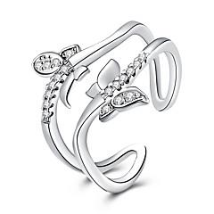 טבעת מתכווננת פתוח תכשיטי יוקרה ציפוי זהב יהלום מדומה Animal Shape פרפר תכשיטים ל חתונה Party יומי קזו'אל 1pc