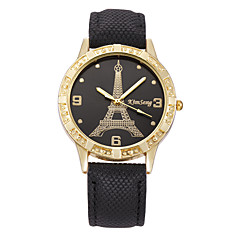 Damen Kleideruhr Modeuhr Quartz Großes Ziffernblatt Imitation Diamant Strass Echtes Leder Band Vintage Eiffelturm Bequem MehrfarbigOrange