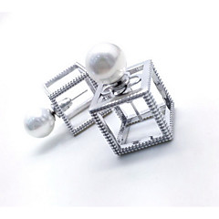 Stud Earrings Jewelry Pearl Sterling Silver Simulated Diamond Simple Style Fashion Silver Jewelry Daily Casual 1 pair