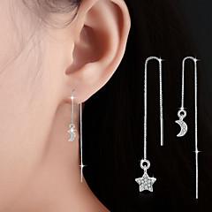 Kolczyki wiszące Frędzle Długi Długość Cyrkonia Stop Star Shape MOON Silver Biżuteria Na Ślub Impreza Codzienny Casual 1 para