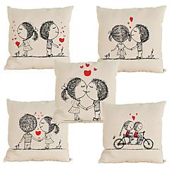 Set of 5 Novelty  Cartoon couple pattern Linen Pillowcase Sofa Home Decor Cushion Cover