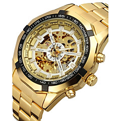 FORSINING® Men's Automatic Mechanical Hollow Dial Gold Steel Band Wrist Watch (Assorted Colors) Cool Watch Unique Watch Fashion Watch