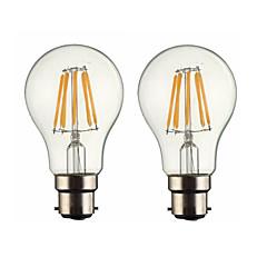 6W B22 Lampadine LED a incandescenza G60 6 COB 600 lm Bianco caldo Intensità regolabile AC 220-240 AC 110-130 V 2 pezzi