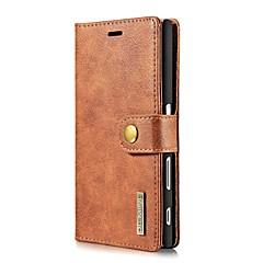 Varten Lomapkko Korttikotelo Flip Etui Kokonaan peittävä Etui Yksivärinen Kova Aito nahka varten Sony Sony Xperia X