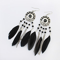 Drop Earrings Alloy Feather Flower Sunflower White Black Red Rainbow Jewelry Party 1 pair