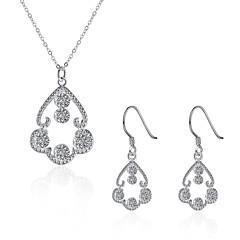 Kocka cirkónia luxus ékszer Cirkonium Réz Ezüstözött utánzat Diamond Ezüst 1 Nyaklánc 1 Pár fülbevaló Mert Napi Hétköznapi 1setEsküvői