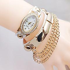 Bracelet Watch Simulated Diamond Watch Quartz Leather Band Black White Blue Silver Red