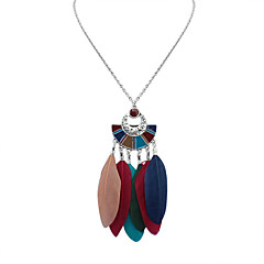 Women's Pendant Necklaces Feather Alloy Geometric Bohemian Fashion White Black Deep Green Rainbow Jewelry Daily 1pc