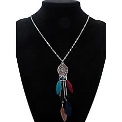 Women's Pendant Necklaces Feather Alloy Geometric Tassels Euramerican Fashion Black Deep Green Rainbow Khaki Jewelry Casual 1pc