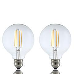 6W E26/E27 LED-glødepærer G95 4 COB 600 lm Varm hvit Dimbar AC 220-240 V 2 stk.