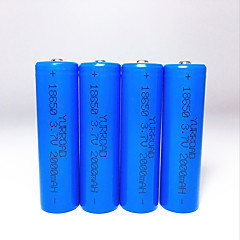 YURROAD High Capacity 4Pcs 2000mAh 3.7V 18650 Protected Rechargeable Lithium ion Battery for Led Flashlight Torch Headlamp Explosion Protection