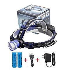 Hoofdlampen LED 2000 Lumens 3 Modus Cree XM-L T6 18650 Verstelbare focus Compact formaatKamperen/wandelen/grotten verkennen Dagelijks
