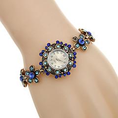 Women's Fashion Watch Bracelet Watch Imitation Diamond Rhinestone Quartz Alloy Band Flower Black Blue