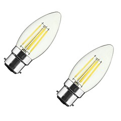 2PCS 4W B22/E27  LED Filament Bulbs C35 4COB 400 lm Warm White Dimmable AC 220-240 AC 110-130 V
