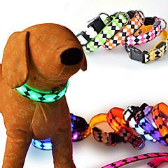 Koty Psy Obroże Odblaskowy Lampy LED Korygujący/Wysuwany Stroboskop Bezpieczeństwo Plaid / Sprawdź Rysunek GeometicRed Biały Zielony