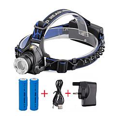 פנסי ראש LED 2000 Lumens 3 מצב Cree XM-L T6 18650 גודל קומפקטי Zoomableמחנאות/צעידות/טיולי מערות שימוש יומיומי רכיבה על אופניים ציד