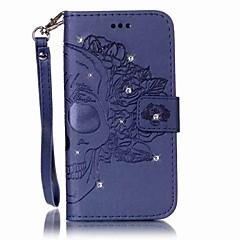 Varten Lomapkko Korttikotelo Paljetti Flip Koristeltu Etui Kokonaan peittävä Etui Pääkallo Kova Tekonahka varten SamsungS7 edge S7 S6