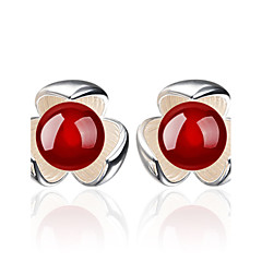 Imitation Ruby / Flower Stud Earrings Jewelry Flower Style Wedding Party Daily Casual Crystal 1 pair Black Red