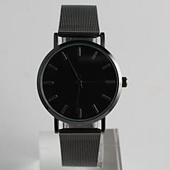 여성용 남성용 패션 시계 손목 시계 석영 스테인레스 스틸 밴드 캐쥬얼 블랙