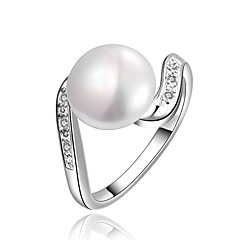 Ringen Halloween Dagelijks Causaal Sieraden Imitatieparel Zirkonia Koper Verzilverd Ring 1 stuks,7 8 Zilver