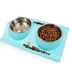 Dog Feeders Pet Bowls & Feeding Portable Foldable Blue Pink Yellow Stainless Steel