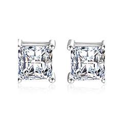 Oorknopjes Zirkonia imitatie Diamond Elegant Klassiek Sterling zilver Kubieke Zirkonia Rechthoekige vorm Zilver Sieraden VoorBruiloft
