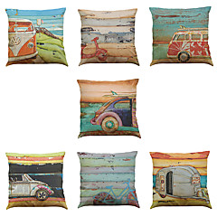 Set of 7 Oil painting car Linen  Cushion Cover Home Office Sofa Square  Pillow Case Decorative Cushion Covers Pillowcases