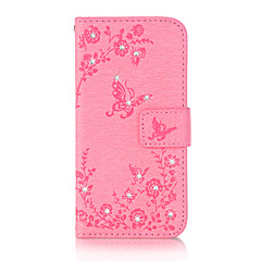 For iPhone 7 7 Plus 6S 6 Plus SE 5S Case Cover Butterfly Love Flowers Pattern Embossed Point Drill PU Material Phone Case