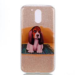For IMD Mønster Etui Bagcover Etui Hund Glitterskin Blødt PC for Motorola MOTO G4 Moto G4 Plus