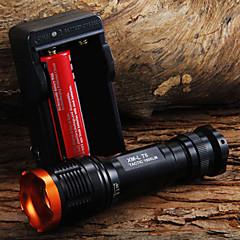 LED Taschenlampen Hand Taschenlampen LED 1800 Lumen 5 Modus Cree XM-L T6 18650 einstellbarer FokusCamping / Wandern / Erkundungen Für den