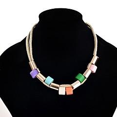 Γυναικεία Κολιέ Δήλωση Ρητίνη Κράμα Κυκλικό Μοναδικό Κοσμήματα με στυλ Λευκό Μαύρο Πορτοκαλί Ουράνιο Τόξο Μπλε Απαλό Κοσμήματα ΓιαΠάρτι
