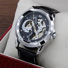 Erkek Moda Saat Quartz Deri Bant Günlük Siyah Siyah ve Altın Altın / Beyaz Siyah/Gümüş Beyaz/Gümüş