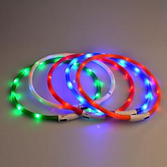 개 칼라 LED 조명 안전 솔리드 고무 퍼플 옐로우 레드 블루 핑크