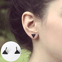 Simple Black Mini Triangle Small Stud Earrings Jewelry Basic Design Party Halloween Daily Casual Alloy 1 pair Silver