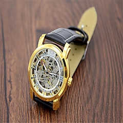 Men's Fashion Watch Quartz Leather Band Casual Black