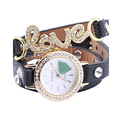 JUBAOLI Women's Bracelet Watch Quartz PU Band Black