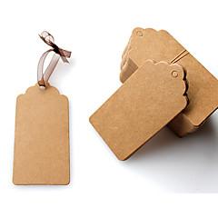 100db 4 * 8 cm-es DIY nátronpapír tag barna csipkés kagyló fej címke poggyász esküvői veszi üres ár függőcímke kraft ajándék